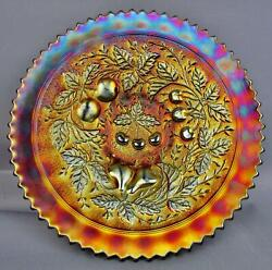 C102 Northwood Three Fruits Stippled Amethyst Carnival Plate W/ Ribbed Exterior
