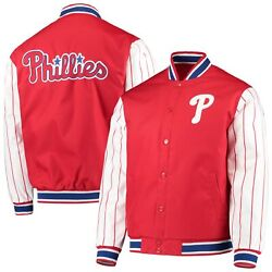 Philadelphia Phillies Jh Design Quilted Knit Jersey Lined Jacket - Red