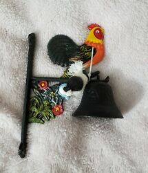 Rooster Dinner Bell Cast Iron Hand Painted Antique Style Black Finish Flowers