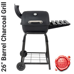 26 Barrel Outdoor Charcoal Grill Smoker Barbecue Bbq W Side Shelf Wheels