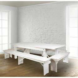 8and039 X 40 Antique Rustic Folding Farm Table And Four Bench Antique Rustic White 5