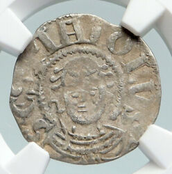 1150ad France Feudal Priory Of Souvigny Medieval Silver Denier Ngc Coin I91602