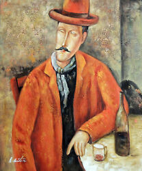 Man Wine Glass And Bottle Modigliani Master's Repro Stretched 20x24 Oil Painting