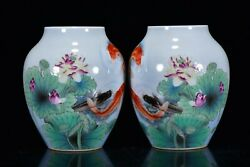 A Pair Chinese Enamel Porcelain Handmade Fish And Lotus Pots 16344