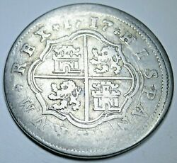 1717 Spanish Silver 2 Reales Genuine Antique Colonial 1700s Two Bits Pirate Coin