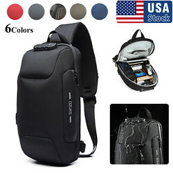 Mens Anti theft Lock Shoulder Chest Bag With USB Oxford Travel Backpack USA $25.99