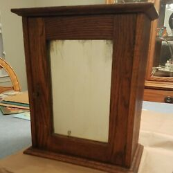 Antique Oak Medicine Cabinet Wood Wall Mount Cupboard With Mirror And Key