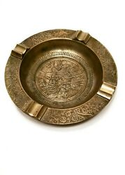 Antique Brass / Bronze Intricate Etched Cigar Cigarette Ashtray Of Bald Eagle