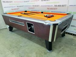 7and039 Valley Commercial Coin-op Pool Table Model Zd-8 With New Orange Cloth