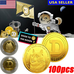 100x Bulk Doge Dogecoin Commemorative Collector Gold Plated Coin doge Dog Smile