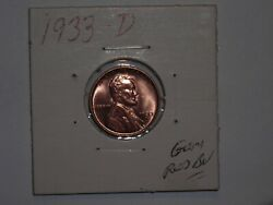 Wheat Penny 1933d Sharp Red Bu Lincoln Cents 1933-d Gem Red Unc Luster Lot 2
