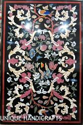 Black Marble Collectible Big Conference Table Top Multi Stone Marquetry Art Dandeacuteco
