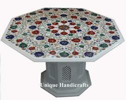 Marble Breakfast Table Top With Stand Multi Stone Floral Fine Marquetry Art Deco
