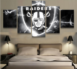 5 Panel Oakland Raiders Nfl Sport Hd Canvas Printed Paintings Home Decor