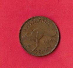 Australia Km36 1943 M Vf-very Fine-nice Large Old Antique Wwii Bronze Penny Coin