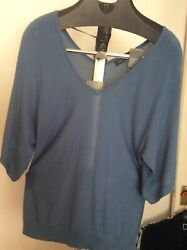 Womens Knit Top Florence Fred Blue Viscose Size 16 New With Tag GBP 9.99
