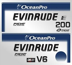 Evinrude Outboard 200 Hp Ficht Ocean Pro Decal Set - Cover Decals