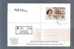 Brit Colonies Cook Islands Reg Cover High Value Stamp Queen E2