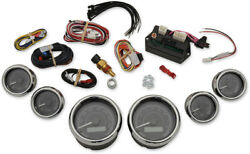 Dakota Digital Mvx-8k Series Analog 6-gauge Kit Chrome Bezel Black Face With