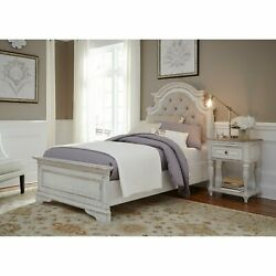 Magnolia Manor Antique White Upholstered Bed Antique White Queen