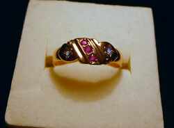 Antique 15ct Yellow Gold Edwardian Hm 1905 Ruby And Sapphire Gypsy Ring. Size N
