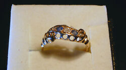 Antique 18ct Yellow Gold Edwardian Hm 1907 Sapphire And Diamond Ring. Size J