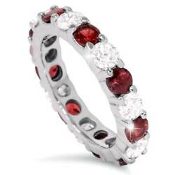 2 Ct Ruby And Diamond Eternity Ring 14k White Gold Womens Stackable Wedding Band
