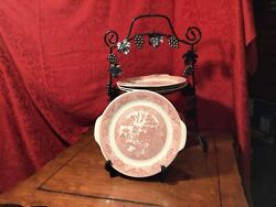 Willow Ware Royal China Red Pink Cake Serving Plate Asian Motif Love Birds 7