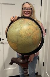 """Antique Vintage 1920s Replogle 16"""" World Library Globe And Claw Foot Stand"""