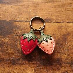 Twin Strawberry Keychain Keyring Leather Craft Made In Japan Handmade A