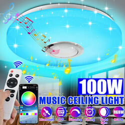 100w Led Ceiling Light Bluetooth Music Speaker Rgb Dimmable Lamp 12+remote