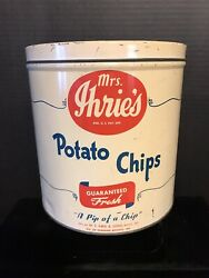 """Vintage Mrs. Ihrie's Potato Chips Tin """"a Pip Of A Chip"""" -baltimore Md"""