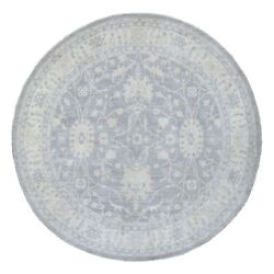 9and0399x9and0399 Round Silver Wash Peshawar Star Design Hand Knotted Wool Rug R67882