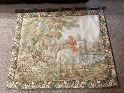 """Large tapestry wall hanging 54"""" X 45"""" French Colonial Scene Equestrian"""