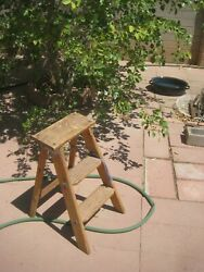 Vintage Wooden Wooden Step Ladder Stand Stool Barn Country Shabby Art Decor Usa