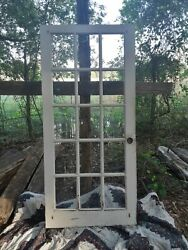 35 1/2 X76 Antique Vintage Wood Interior Entry French Door Window Beveled Glass