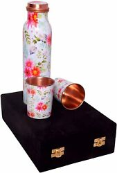 Pure Copper Water Bottle With Set Of 2 Glass Leak Proof Best For Home Free Ship