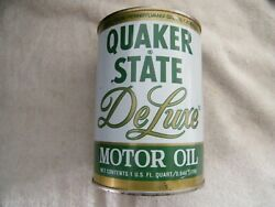 Vintage Quaker State Deluxe Motor Oil Tin Can Full 10/40 Nos Displays Well