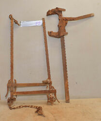 3 Antique Fence Stretchers Collectible Barbed Wire Farm Ranch Tools Parts Lot F8