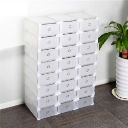 10 Boxes Clear Shoe Storage Organizer Plastic Stackable Drawer Shoes Container