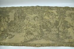 Vtg Tapestry Runner Wall Hanging Cherubs Playing Instrument 56quot; x 17.5quot;