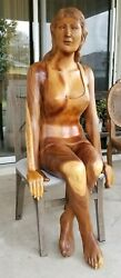 Mid-century Modern Hand-carved Wood Sculpture Life Size Woman Hollywood Regency