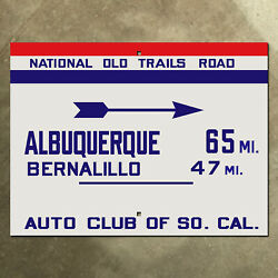 Acsc National Old Trails Road Highway Sign Route 66 Albuquerque New Mexico 20x15