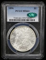 1896 Morgan Silver Dollar Pcgs Ms66+ Cac Certified - 07996