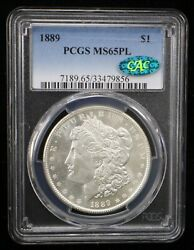 1889 Morgan Silver Dollar Pcgs Ms65pl Cac Certified - 07711