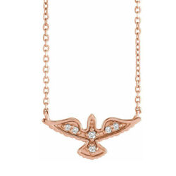 14k Yellow White Or Rose Gold Diamond Petite Dove Necklace 18 Inch