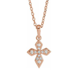14k Yellow White Or Rose Gold Diamond Petite Cross Necklace 16-18 In