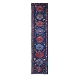 3and039x14and039 Antique North West Farsian Shahsavan Good Cond Wool Runner Rug R66394