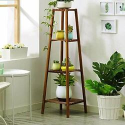 Bamboo Tall Plant Stand Pot Holder Small Space Table 4 Tier