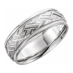 7mm 14k White Gold Woven Design Comfort Fit Band